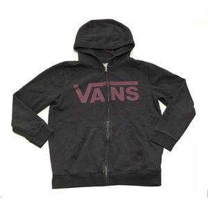 Vans Boys Hoodie Sweatshirt Gray Zip Youth Large